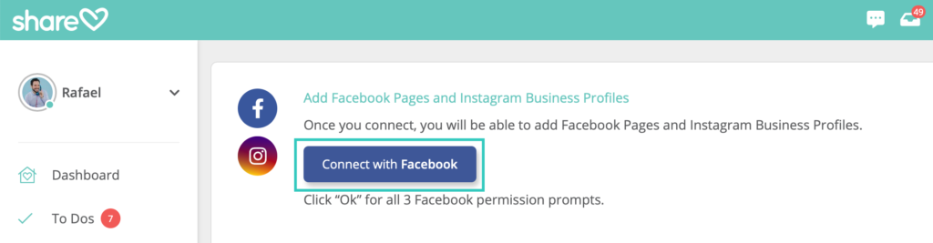 """3. Click the """"Connect with Facebook"""" button."""
