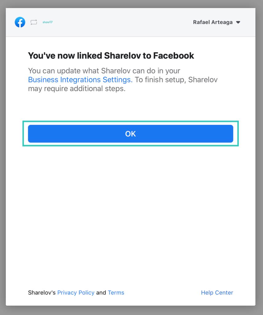 """8. Click """"Ok"""" to return to Sharelov."""